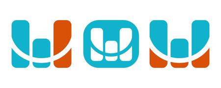 Monitoring vector blue orange logos with letter M Illustration
