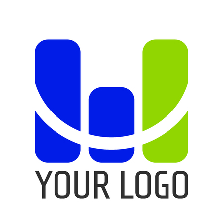 Monitoring vector logo with letter M and text Illustration