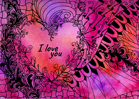 Illustration with heart and text I love you