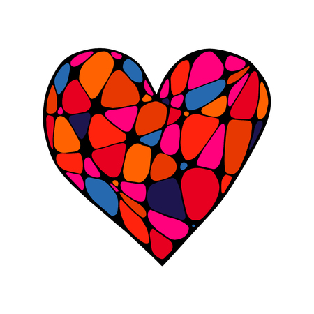 Vector colored hand drawn heart in zenart style Imagens - 124887522