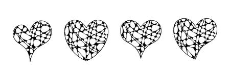 Vector set of hearts in zen doodle style.