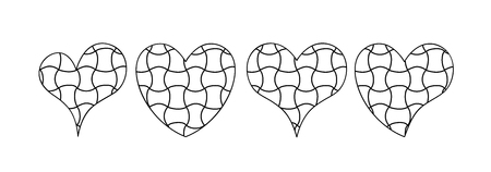 Vector set of hearts in zen doodle style. Black on white background. For coloring books and pages, interior design. Image suitable for laser cutting, plotter cutting or printing.