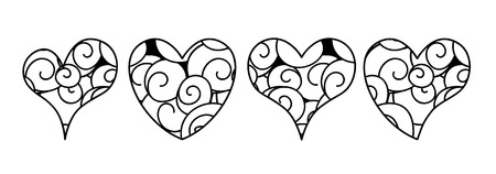 Vector set of hearts in zen doodle style with swirls. Black on white background. For coloring books and pages, interior design. Image suitable for laser cutting, plotter cutting or printing. Illustration