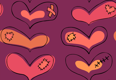 Vector seamless pattern of hand drawn coral, pink, beige hearts with black stroke and plaster, scar and patch in doodling style on violet background