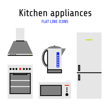 Vector kitchen appliances set of icons in flat line style