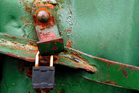 rusty green metal texture of cargo container with lock and bolt for your design. Vintage style.
