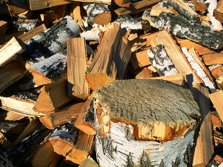 stand in the form of tree stump and background of birch firewood texture for your objects or text.