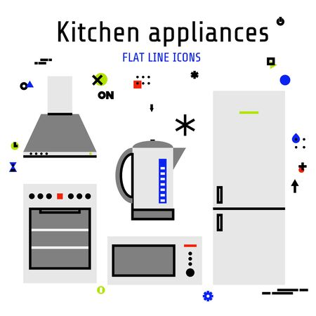 Vector kitchen appliances set of icons in flat line style for your design