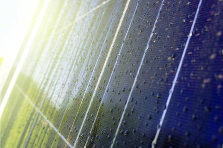 Close-up of dark blue solar polycrystalline photovoltaic panels