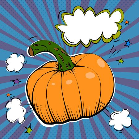 Vector ink hand drawn illustration of orange pumpkin Stok Fotoğraf - 131875656