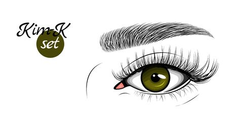 Vector illustration of dark green female eye with extended eyelashes and eyebrow. Kim-K set.