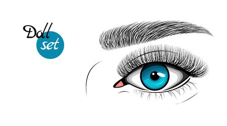 Vector illustration of blue female eye with extended eyelashes and eyebrow. Illustration