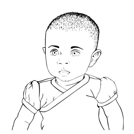 Vector black and white  of baby in a t-shirt. Sketch linear, hand drawn style