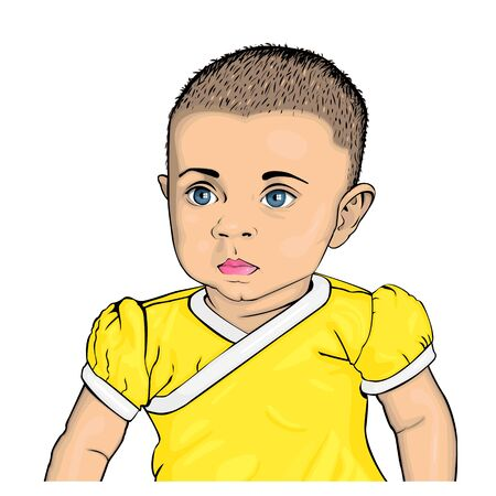 Vector illustration of a child with blue eyes in a yellow bodysuit. Pop art style. Illustration