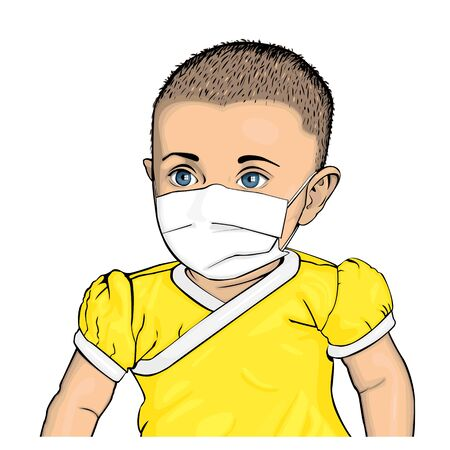 Vector colored illustration of baby with blue eyes in yellow bodysuit with medical mask on face Illustration