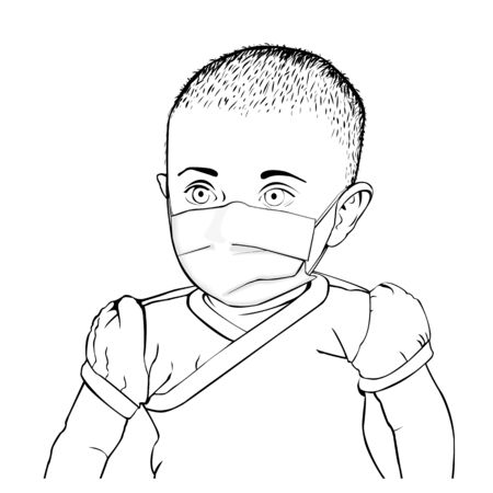 Vector black and white illustration of baby in t-shirt with medical mask on face