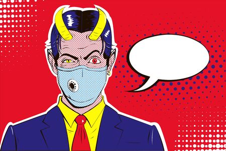 Male portrait of malevolent satan businessman with raised eyebrow, medical mask on face, horns in blue suit with tie