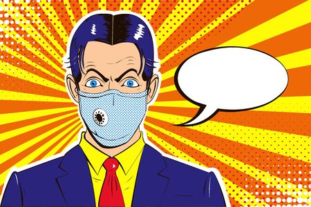 Unpleasantly surprised businessman with medical respirator on face, in blue suit on spotted orange background