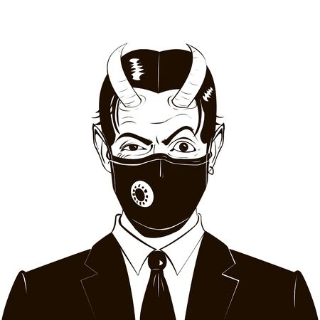 Male portrait of horned devil businessman with raised eyebrow, medical respirator, in business suit and tie