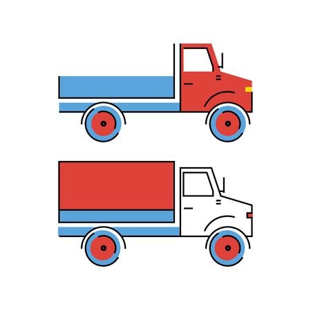 Truck with red and white cab and blue bodywork