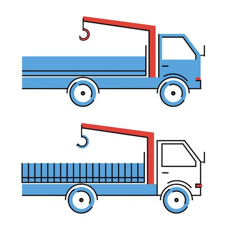 Vehicle with blue and white cab and red crane-manipulator system Illustration