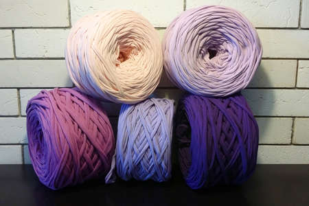Vivid lilac, pink, violet, purple, balls of eco t-shirt yarn zpagetti for hand knitting