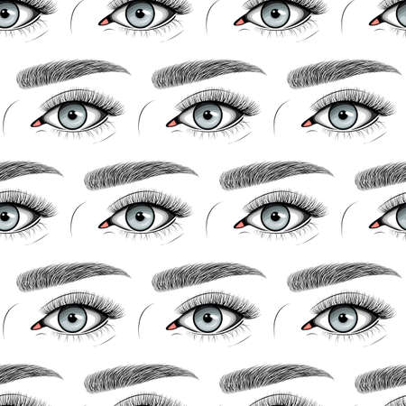 Seamless pattern with Natural set. Vector flat style with hand drawn lashes and brow.