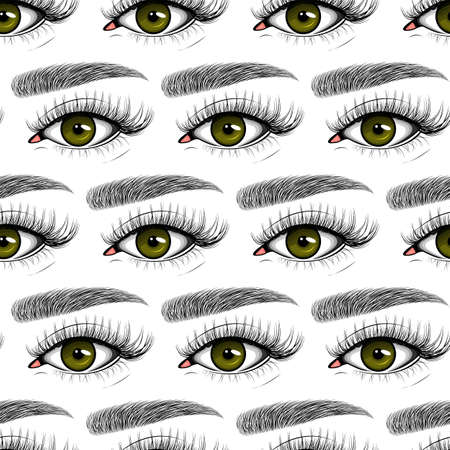 Vector seamless pattern of Cluster set. Vector flat style with hand drawn lashes and brow