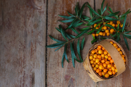 argousier: Basket of buckthorn berries with green branch on a wooden table