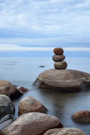 ladoga: Lake Ladoga in calm cloudy weather Stock Photo