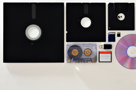 different ways: Different ways to store information. floppy disks, tapes, memory cards and disks