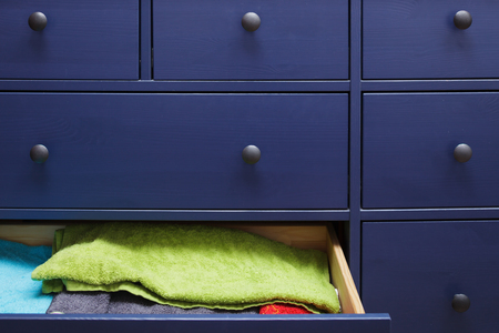 laundered: neatly folded things in the closet Stock Photo
