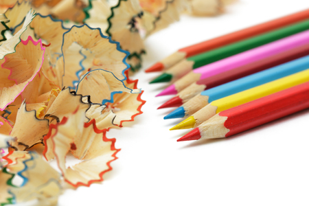 Sharp, sharpened colored pencils Stock Photo