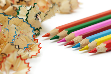sharpened: Sharp, sharpened colored pencils Stock Photo