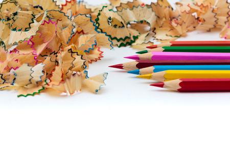 sharpened: Sharp, sharpened colored pencils Stock Photo