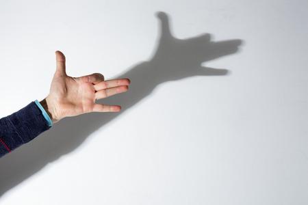 Man's hand spelen met de schaduwen: silhouet van het hoofd van de hond op de muur Stockfoto - 51338014