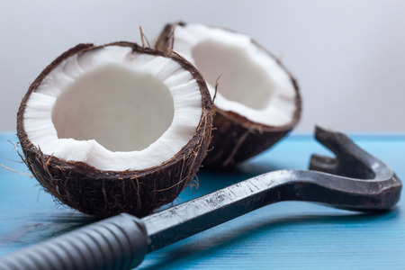 crowbar: chopped in half a coconut and crowbar as a tool for opening