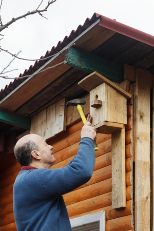attaches: Bald senior with a mustache attaches birdhouse to the barn