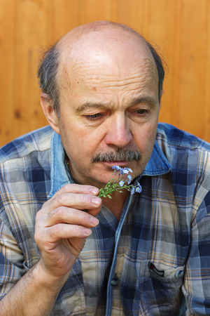unhappy man: Elderly man with a bouquet of forget-me-the sadness of the past. Sad memories of love