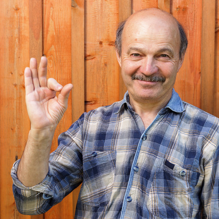 recommendations: elderly man in a plaid shirt, bald, with a mustache shows sign okay. Approval and positive recommendations Stock Photo