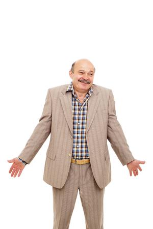 elderly businessman shrugs from ignorance