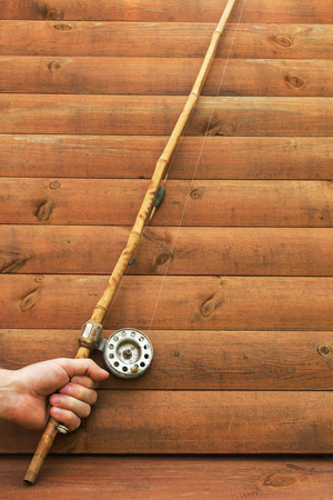 catch fish: Old bamboo rod to catch fish