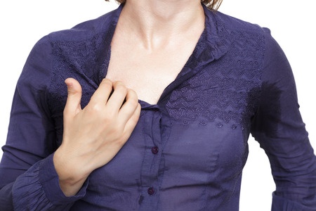 wet clothes: problem with profuse sweating. Wet clothes from the heat Stock Photo