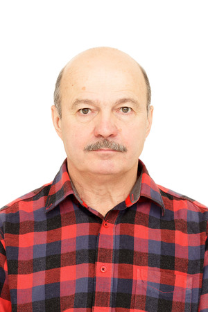 Elderly old man  with mustache, bald man in plaid shirt