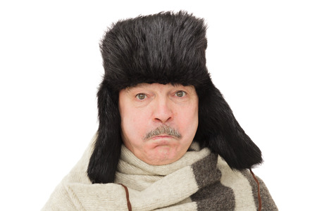 outdoor, human, isolated, clothing, cold, warm, model, flap, mustache, fun, emotional, hat, white, years, expression, wool, adult, cap, fur, head, russian, male, casual, old, people, black, caucasian, fashion, traditional, aging, depression, uncertainty,  Stock Photo
