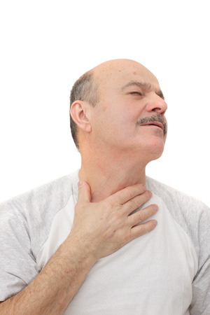 Man has sore throat infection and colds. Respiratory disease in older age