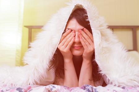 Garder le lit. Insomnie par le stress et les émotions Banque d'images