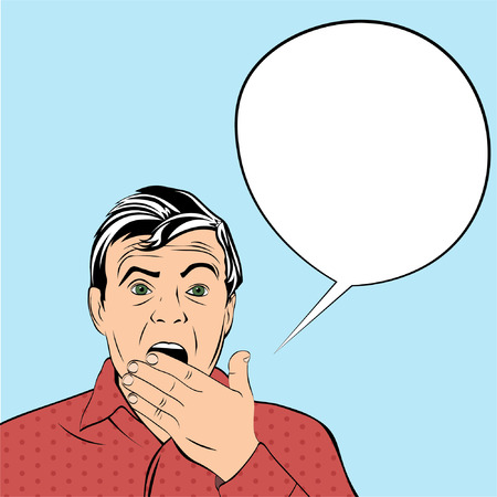 opened mouth: Shocked man opened his mouth in surprise with bubble for speech. Illustration in pop-art style