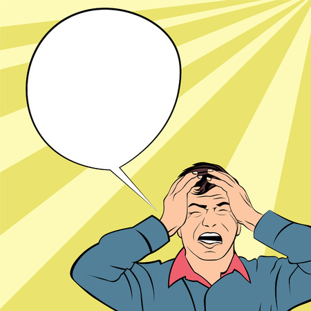 Man in shirt hugged his head, wincing. Despair and pain of failure or disease. Pop art illustration