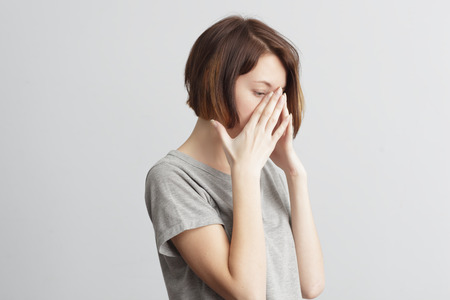 premenstrual syndrome: Forget and remember something, suffer from illness. Stock Photo